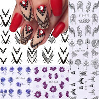 13 Sheets Nail Art Water Decals Stickers Flower Geometric  Decor Tips