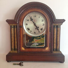 England Wood Mental Clock Chimes , Asian Reverse Painting On Glass