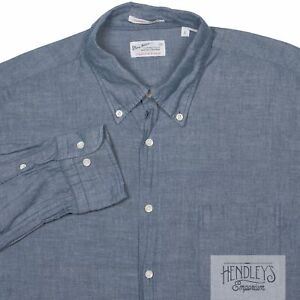 GANT RUGGER Shirt L in Slate Blue Chambray Selvage Madras Cotton Button-Down