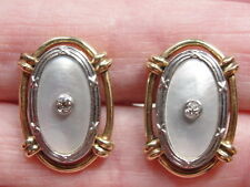 Lovely Vintage Mother of Pearl 14K White & Yellow Gold Cufflinks w/Diamonds