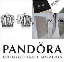 GENUINE Pandora Cubic Zirconia Crown Stud Silver Earrings BRAND NEW in Box
