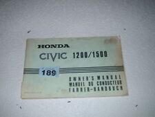 HONDA CIVIC 1200 & 1500 OWNERS HANDBOOK / MANUAL 1975