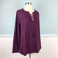 Size 1X Style & Co Purple Thermal Boho Peasant Top Blouse Shirt Women's Plus NWT