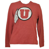 NCAA Utah Utes Mens Adult Thermal Pullover Shirt Red Long Sleeve Crew Neck Sport
