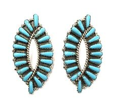 Native American Sterling Silver Navajo Handmade Cluster Turquoise Post Earring