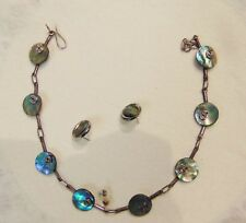 "Links - Hand Made - 14"" Long Abalone Shell Necklace & Earrings - Silver"