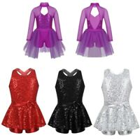 Girls Jazz Modern Dance Dress Kids Sequins Outfit Leotard Ballet Dancewear