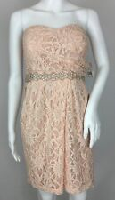 City Triangles Blush Pink Strapless Sequined Lace Dress Prom Bridesmaid Size 10