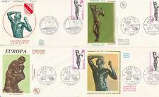 Lot 4 enveloppes 1er Jour timbrée 1974 EUROPA artiste RODIN sculp âge d'airain 1