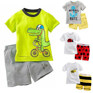 Kids Boys Summer Short Sleeve T-shirt Tops Tee + Shorts Outfits Set Clothes 2-8Y