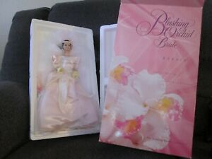 1996 BLUSHING ORCHID BRIDE PORCELAIN BARBIE NEW 1 OF 3 IN SERIES WEDDING FLOWERS