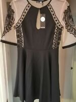 Brand new Bohoo Night Black Dress Uk Size 10 Fit and Flare
