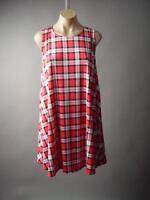 Red Black White Plaid Check London Punk Tent Trapeze Tank 194 mv Dress S M L XL