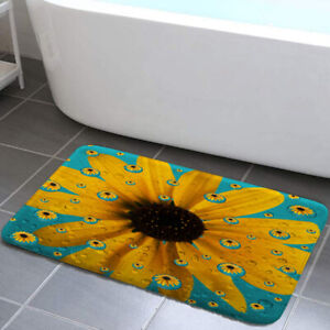 Water drops & yellow flower Shower Curtain Toilet Cover Rug Mat Contour Rug Set