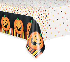 Calabaza Halloween Mantel de Plástico Halloween Naranja y Negro Vajilla Fiesta