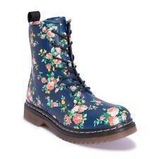 Truffle Buk 2 Blue Floral Ankle Vegan Combat Boots