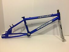 "Mongoose Motivator BMX Bicycle Frame Fork Blue Chrome Old School 20"" Bike"
