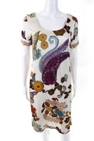 Etro Womens Short Sleeve Scoop Neck Paisley Floral Dress White Brown Size IT 42