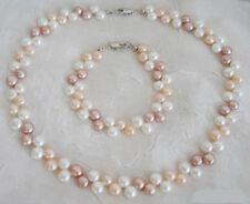 2 Rows Genuine Multicolor White Pink Purple Flat Pearl Necklace Bracelet Set