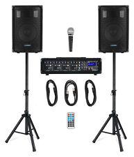 DJ PA Anlage Gesangsanlage 4-Kanal Powermixer Bluetooth MP3 USB SD Zubehör 100W