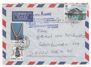 1987 CYPRUS Air Mail Cover NICOSIA to KÖLN GERMANY Birds Jewellery EMBASSY