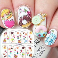 Nail Art Water Decals Transfers Yummy Icecream Cake Theme Manicure Tips