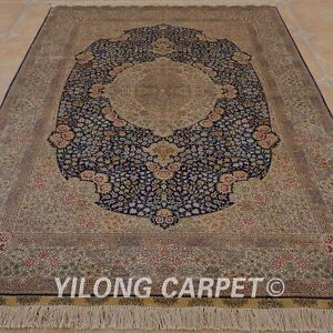 YILONG 5'x8' Handknotted Silk Gold Washed Carpet Antique Oriental Area Rug 0999
