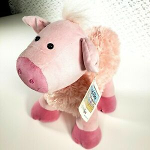 """Rare Animal Alley Pink Pig Plush Lovey 14"""" Toys R Us Soft Stuffed Toy Standing"""
