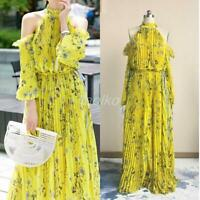 Off Shoulder Floral Printed Yellow Cold Shoulder Beauty Maxi Dress halter Womens