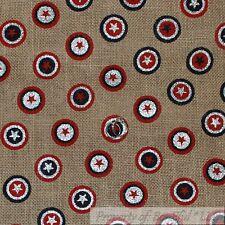 BonEful Fabric FQ Cotton Quilt VTG Brown BURLAP Red White Blue Dot Super Hero US