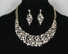 New Rhinestone Crystal Pearl Necklace Earring Jewelry Set Wedding Bridal Party