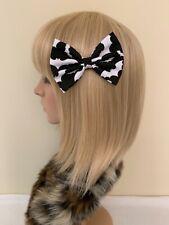 Black white bat hair bow clip rockabilly pin up girl psychobilly Halloween cute