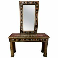 Console and Mirror  Moroccan Hollywood Regency Style in Filligree Brass & Stones