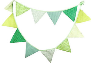 3M Lovely Floral Cotton Fabic Buntings 12 Flags Double Sided Party Banner -GREEN