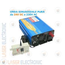 POWER INVERTER ONDA SINUSOIDALE PURA 600W da 24V DC a 220V AC REMOTE CONTROL