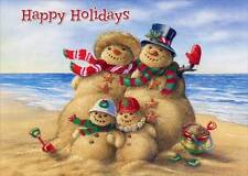 Beach Snowman Family 18 Warm Weather Boxed Christmas Cards by Red Farm Studios