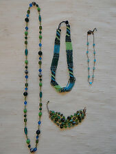 Jewelry Lot 3 Necklace 1 Bracelet Green and Blue Glass Bead Bohemian Necklaces