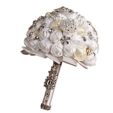 Wedding Bridal Bouquet Rose Flower Silk Crystal Pearl Brooch Posy Hot Romantic