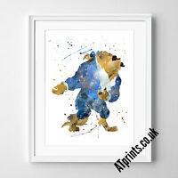 BEAUTY AND THE BEAST DISNEY Print Poster Watercolour Framed Canvas Wall Art