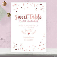Personalised Sweet Table Wedding Party Sign Rose Gold Effect and Blush Pink RGP6