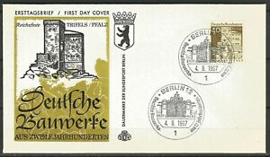 Germany Berlin 1967 FDC 12 Cent. German Architecture Trifels Castle Palatinate