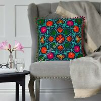 """Suzani Embroidery Cushion Pillow Cover 16"""" Traditional Home Decor Pillow Case"""