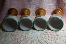 Lot of 4 Hand Crafted Studio Pottery & Wood Pedestal Floral Wine Goblet Glasses