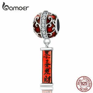 BAMOER Red Ename Lantern DIY Charm Oxidized S925 Sterling silver Fit bracelets