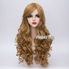 Lolita Lady Light Brown Long Curly Hair 65CM Daily Cosplay Party Wig + Free Cap