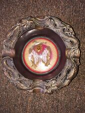 ASIAN DRAGON COPPER Metal REAL Butterfly MOTH under Glass Dome Bowl Tray Decor