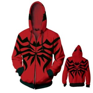 Anime Venom Unisex Hoodies Cosplay Costume Jacket Hooded Coat Zipper Sweatshirts