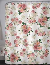 New Pretty Pink Floral Motif Waterproof Fabric Shower Curtain