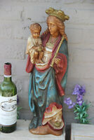 Antique French large chalkware statue madonna figurine religious