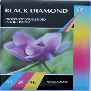 100 Sheets A4 235gsm Black Diamond Double Sided Gloss / Matte Paper